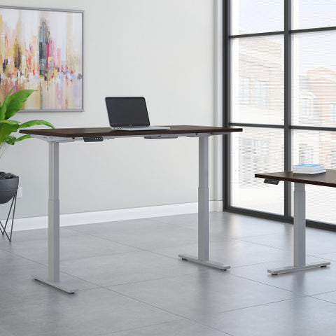 Bush Move 60 Series 72W x 30D Height Adjustable Standing Desk, Mocha Cherry Satin M6S7230MRSSK ; UPC: 042976068561 ; Image 2