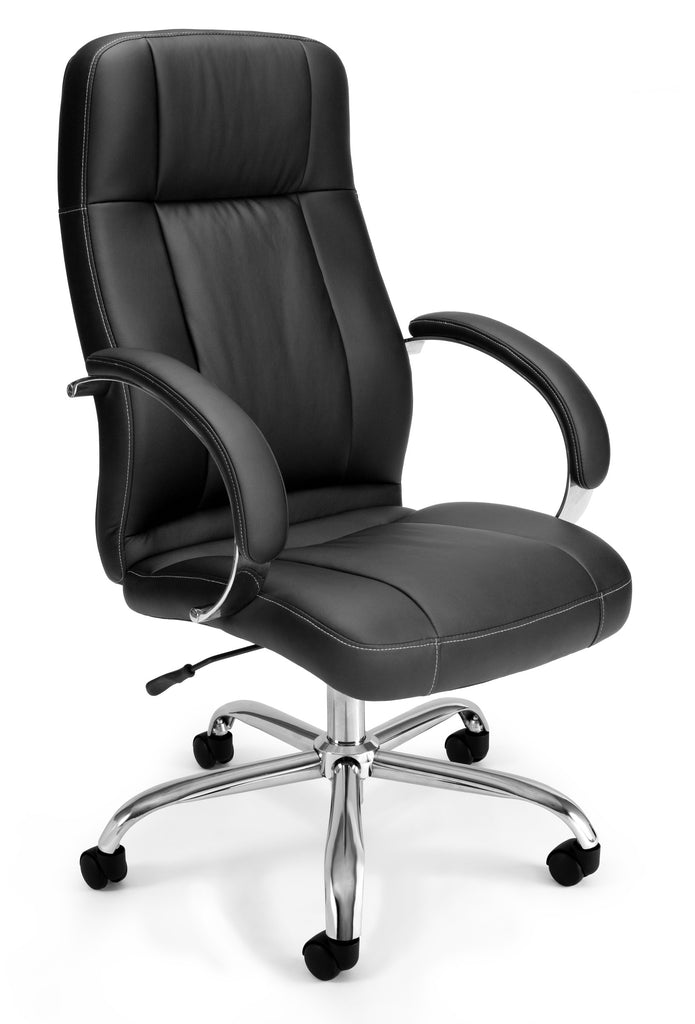 OFM Stimulus Series Model 516-LX Leatherette Executive High Back Chair with Arms, Black ; UPC: 845123012307 ; Image 1
