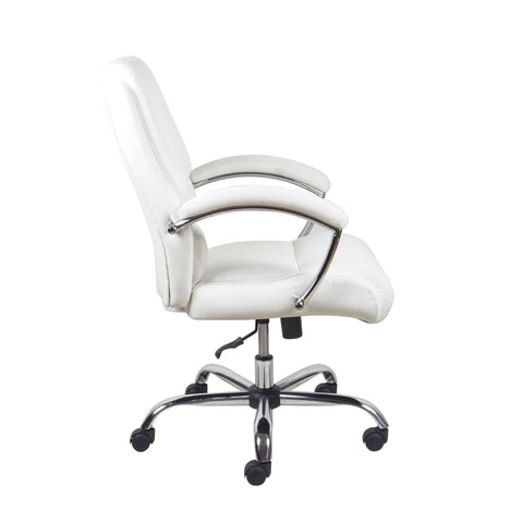 Essentials by OFM ESS-6070 Ergonomic High-Back Bonded Leather Executive Chair, White with Chrome Finish ; UPC: 089191014034 ; Image 4