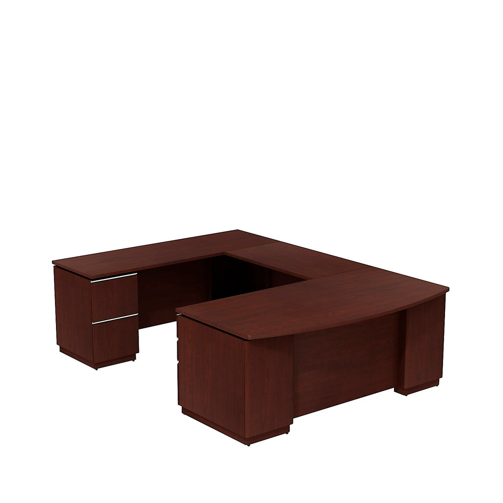 Bush Business Furniture Milano2 72W Left Hand U-Station in Harvest Cherry ; UPC: 042976514808 ; Image 1