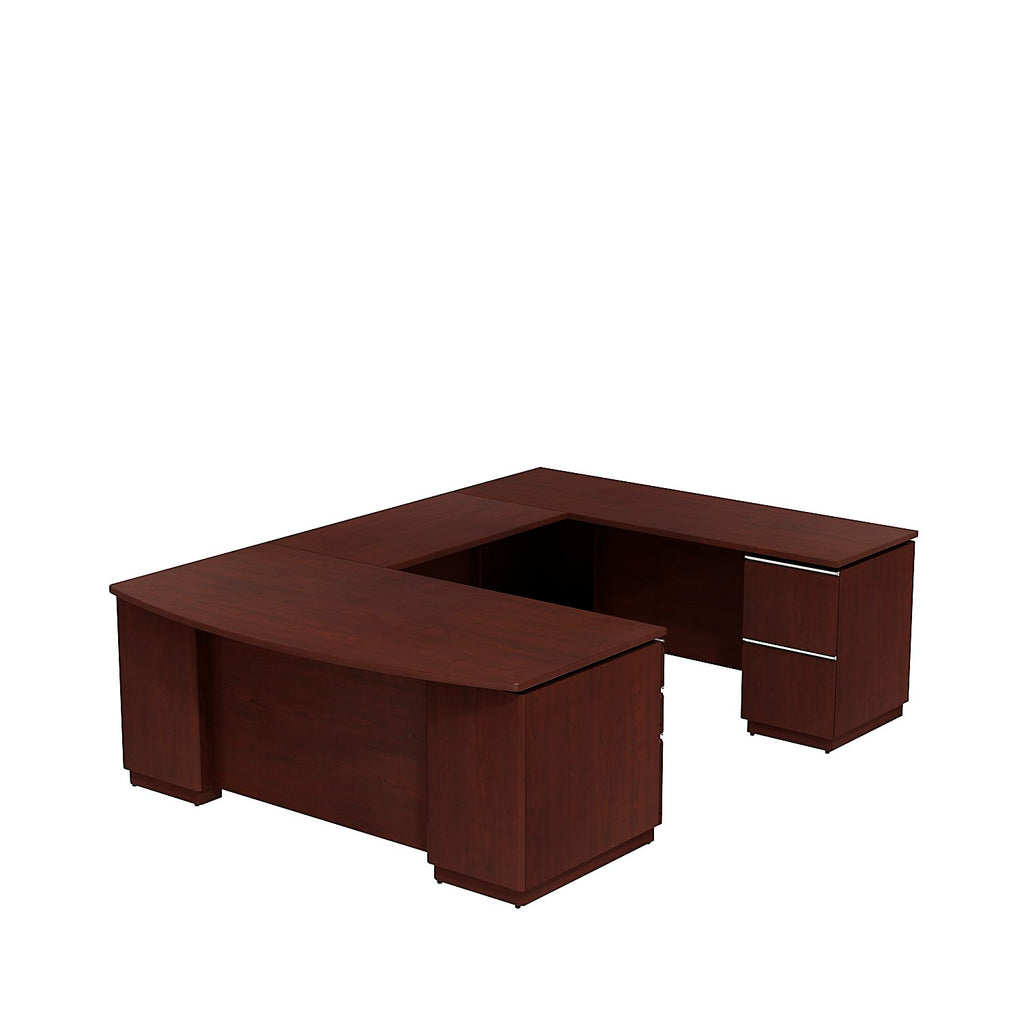 Bush Business Furniture Milano2 72W Right Hand U-Station in Harvest Cherry ; UPC: 042976514761 ; Image 1