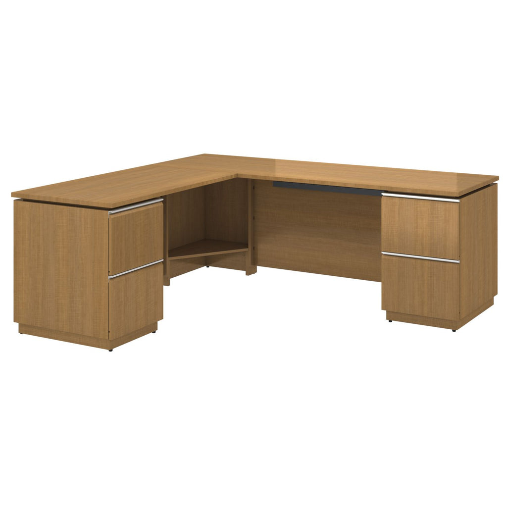 Bush Business Furniture Milano2 72W x 24D Right-Handed L Station in Golden Anigre ; UPC: 042976797249 ; Image 1