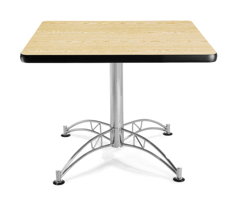 "OFM Model LT36SQ 36"" Multi-Purpose Square Table with Chrome-Plated Steel Base, Oak ; UPC: 811588017591 ; Image 1"