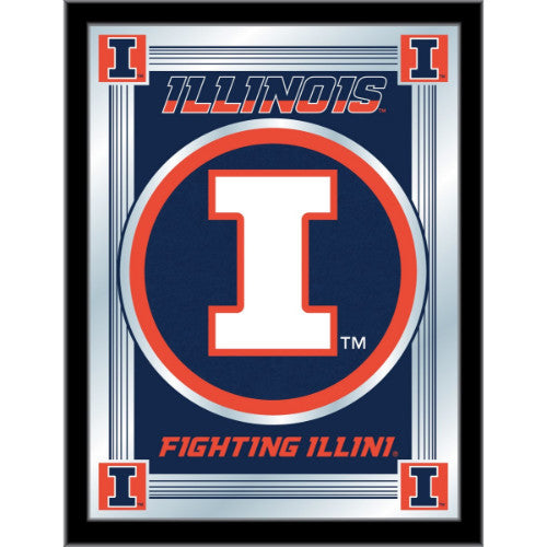 "Illinois 17"" x 22"" Logo Mirror by Holland Bar Stool Company; UPC: 071235380342"