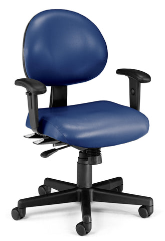 OFM Model 241-VAM-AA 24 Hour Ergonomic Task Chair with Arms, Anti-Microbial/Anti-Bacterial Vinyl, Mid Back, Navy ; UPC: 845123012413 ; Image 1