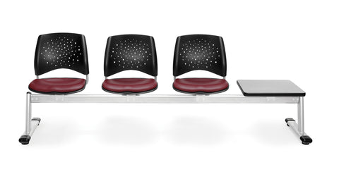 OFM 324T-VAM-603-GY Stars 4-Unit Beam Seating with 3 Vinyl Seats and 1 Table ; UPC: 845123027929 ; Image 1