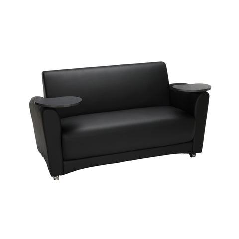 OFM InterPlay Series Social Seating Sofa with Double Tungsten Tablets, in Black (822-PU606-TNGST) ; UPC: 845123031124 ; Image 1
