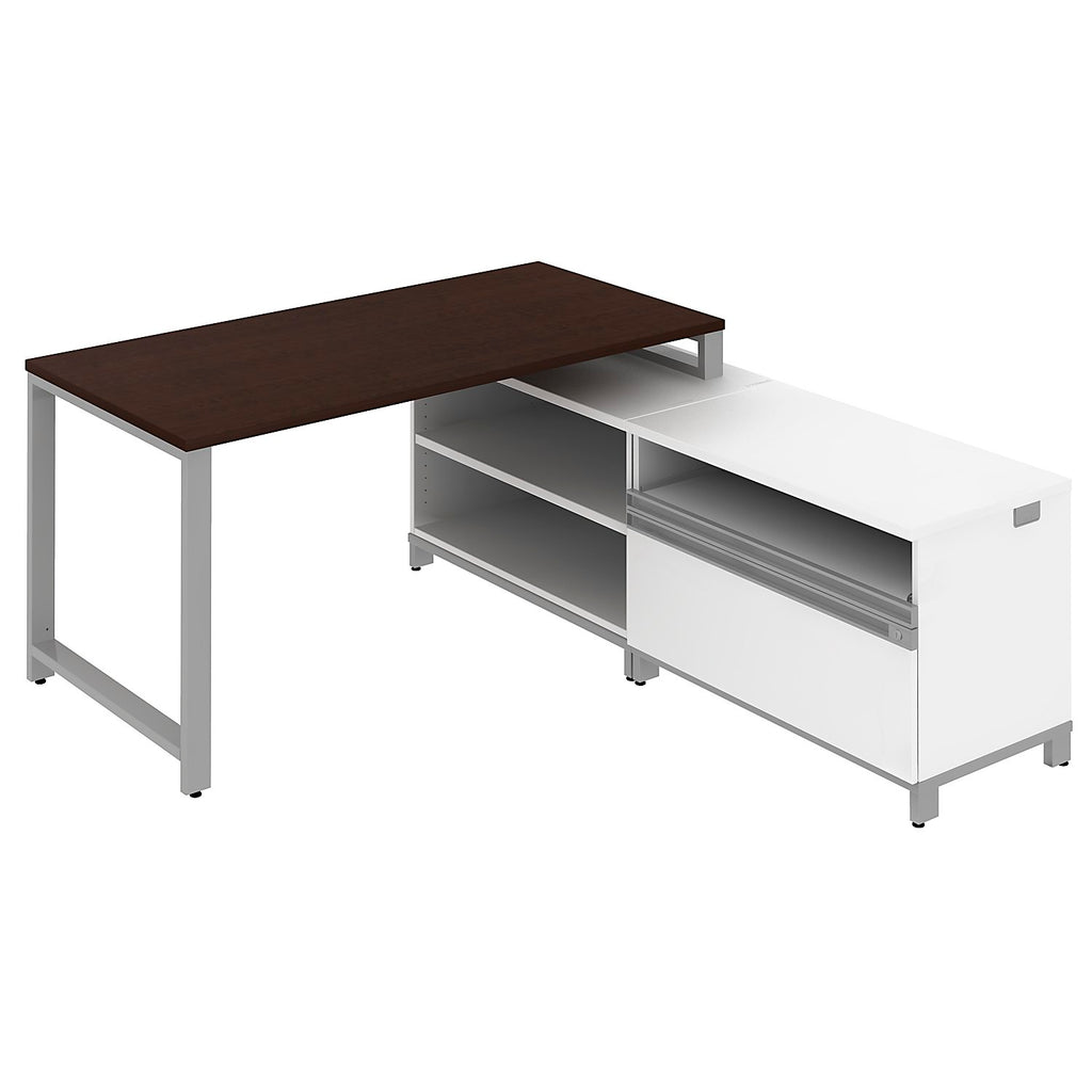 Bush Business Furniture Momentum Mocha Cherry 60W X 30D Desk w/ 24H Open Storage and 24H Piler/Filer ; UPC: 042976460976 ; Image 1