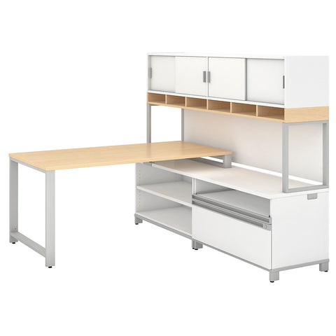Bush Business Furniture Momentum 60W X 30D Desk with 24H Open Storage, 24H Piler Filer and 72W Hutch with Doors in Natural Maple ; UPC: 042976797416 ; Image 1