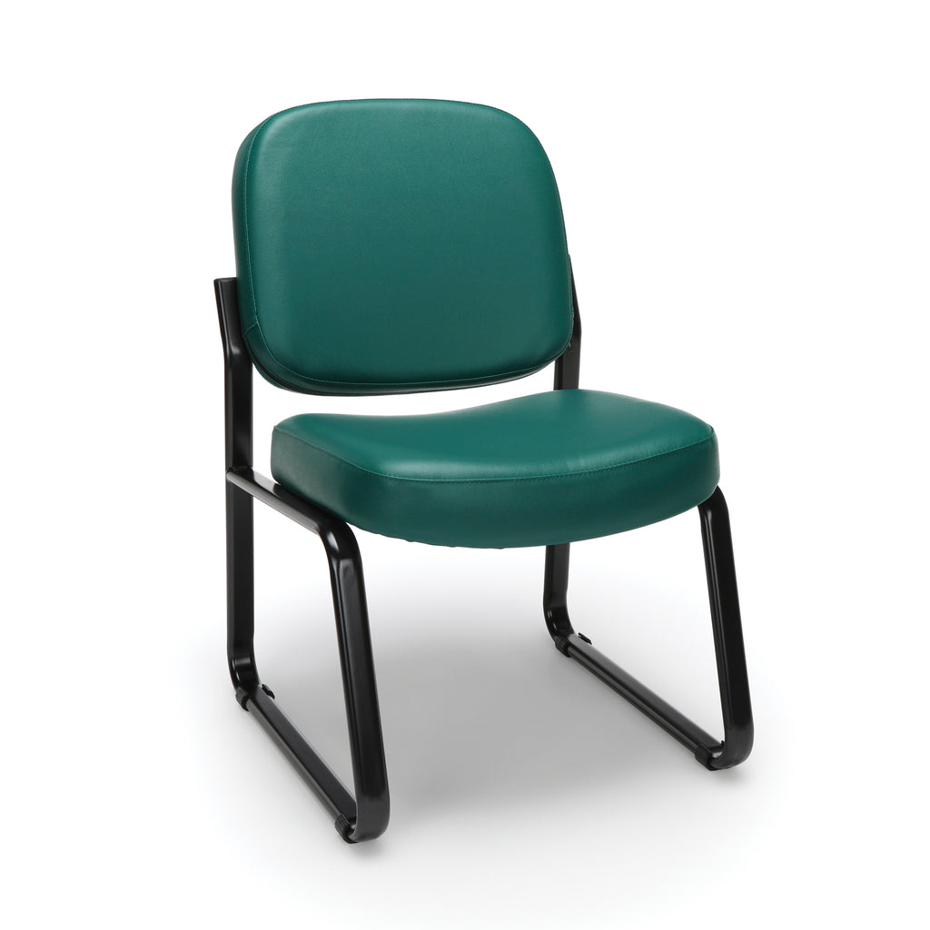 OFM Model 405-VAM Armless Guest and Reception Chair, Anti-Microbial/Anti-Bacterial Vinyl, Teal ; UPC: 811588014323 ; Image 1