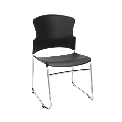 OFM Multi-Use Model 310-P Stack Chair with Plastic Seat and Back, Black ; UPC: 811588013876 ; Image 1