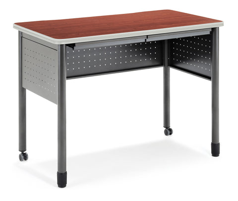 "OFM Mesa Series Model 66121 Standing Height Training Table and Desk with Drawers, 27.75"" X 47.25"", Cherry ; UPC: 845123052815 ; Image 1"