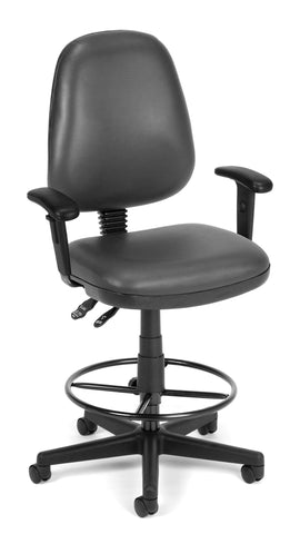 OFM Straton Series Model 119-VAM-AADK Drafting Task Chair, Anti-Microbial Vinyl, Charcoal ; UPC: 845123011478 ; Image 1