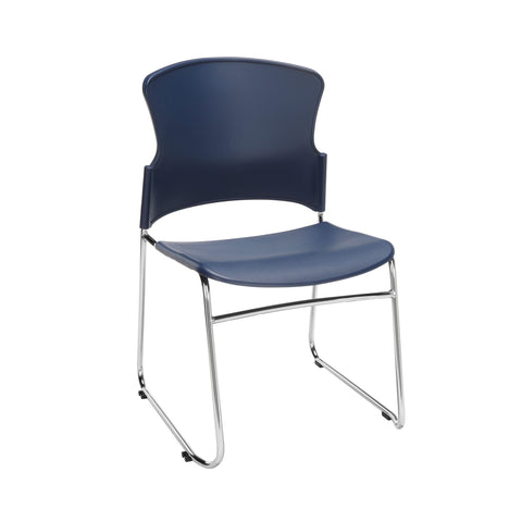 OFM Multi-Use Model 310-P Stack Chair with Plastic Seat and Back, Navy ; UPC: 811588013890 ; Image 1