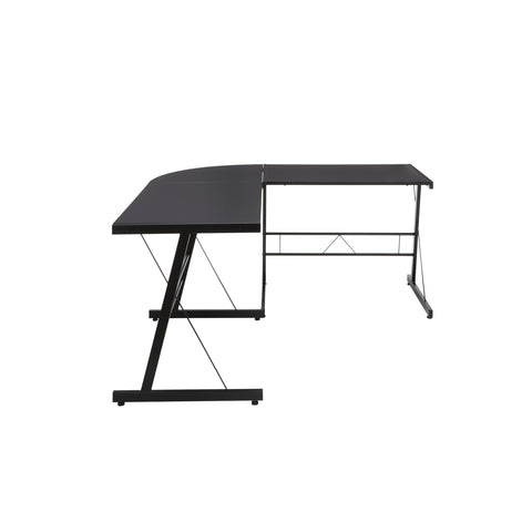 "OFM Essentials Collection 60"" Metal Frame L-Shaped Desk, Corner Computer Desk, in Black (ESS-1021 -BLK-BLK) ; UPC: 192767000079 ; Image 4"