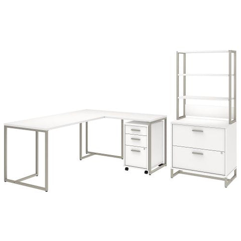 Office by kathy ireland® Method 72W L Shaped Desk with 30W Return, File Cabinets and Hutch in White (MTH027WHSU) ; Image 1