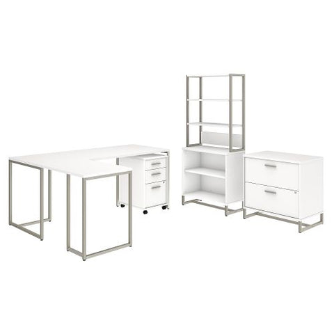 Office by kathy ireland® Method 72W L Shaped Desk with 30W Return, File Cabinets and Bookcase in White (MTH029WHSU) ; Image 1