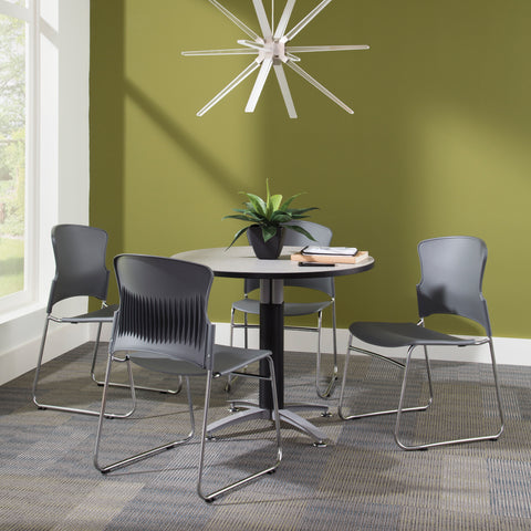 OFM Core Collection Multi-Use Plastic Stack Chair, Pack of 4, in Gray (310-P-4PK-A01) ; UPC: 845123049143 ; Image 4