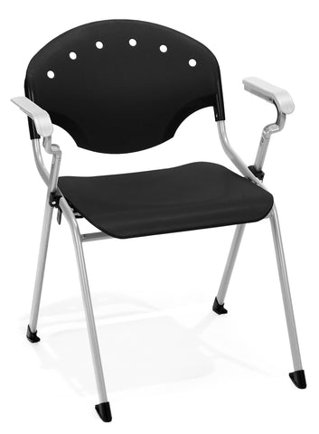 OFM Rico Series Model 306 Plastic Stack Chair with Arms, Black ; UPC: 811588013654 ; Image 1