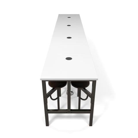 OFM Endure Series Model 9016 Standing Height 16 Seat Table, White Dry-Erase Top with Walnut Seats ; UPC: 845123054338 ; Image 1