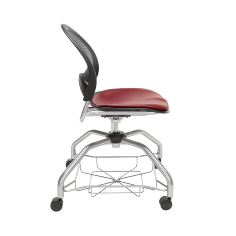 OFM Moon Foresee Series Chair with Removable Vinyl Seat Cushion - Student Chair, Wine (339-VAM) ; UPC: 845123094532 ; Image 4