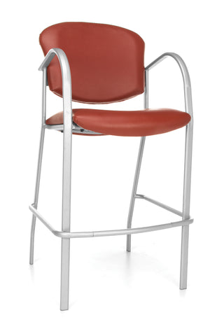 OFM Danbelle Series Model 414C-VAM Antimicrobial Vinyl Contract Reception Cafe Height Chair, Wine ; UPC: 845123040621 ; Image 1