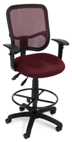 OFM Comfort Series Model 130-AA3-DK Ergonomic Mesh Swivel Task Chair with Arms and Drafting Kit, Mid Back, Wine ; UPC: 845123011720 ; Image 1