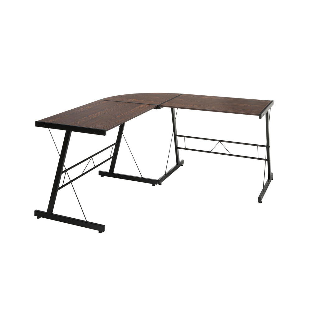 "OFM Essentials Collection 60"" Metal Frame L-Shaped Desk, Corner Computer Desk, in Wenge (ESS-1021 -BLK-WEN) ; UPC: 192767000086 ; Image 1"