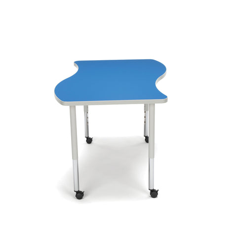 OFM Adapt Series Large Wave Standard Table - 25-33? Height Adjustable Desk with Casters, Blue (WAVE-L-LLC) ; UPC: 845123096147 ; Image 4