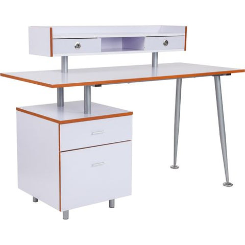 Flash Furniture Piedmont Home and Office Desk with 2 Drawers and Top Storage Shelf in White Finish NANJN2339WHGG ; Image 1 ; UPC 889142339113