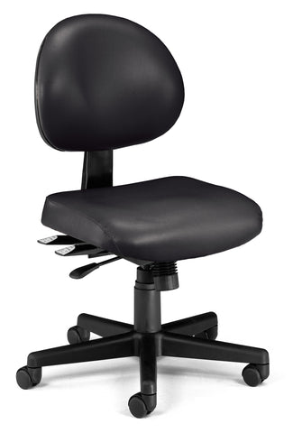 OFM 241-VAM 24 Hour Ergonomic Armless Task Chair, Anti-Microbial/Anti-Bacterial Vinyl, Mid Back, Black ; UPC: 811588013500 ; Image 1