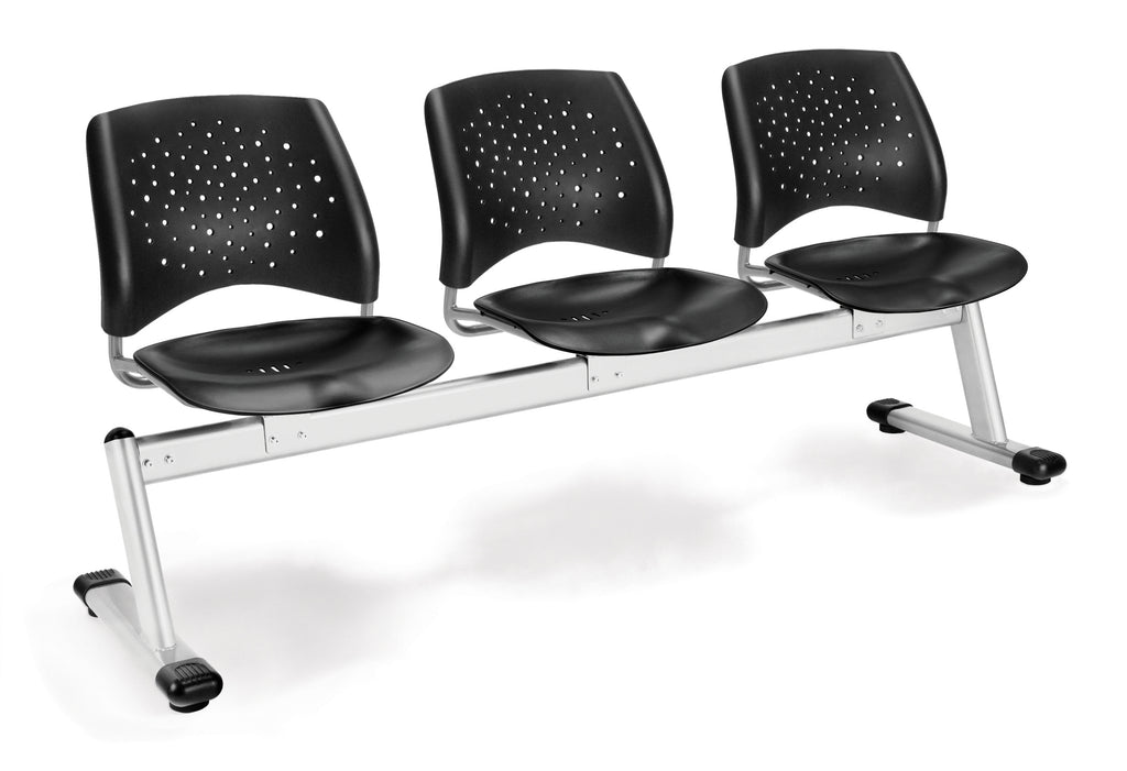OFM 323-P-BLK Stars 3-Unit Beam Seating with 3 Plastic Seats ; UPC: 845123021286 ; Image 1
