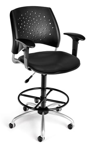 OFM Stars Series Model 326-V-AA3DK Anti-Microbial/Anti-Bacterial Vinyl Drafting Task Chair, Black ; UPC: 845123012840 ; Image 1