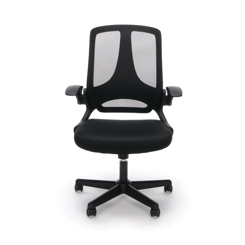 Essentials by OFM ESS-3045 Mesh Upholsterd Flip-Arm Task Chair, Black ; UPC: 845123089262 ; Image 2