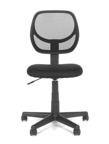 Essentials by OFM E1009 Armless Mesh Back and Fabric Task Chair, Black ; UPC: 845123032435 ; Image 2