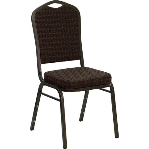 Flash Furniture HERCULES Series Crown Back Stacking Banquet Chair in Brown Patterned Fabric - Gold Vein Frame NGC01BROWNGVGG ; Image 1 ; UPC 847254015981