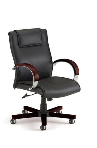 OFM Apex Series Model 561-L Leather Mid-Back Executive Office Chair, Black with Mahogany ; UPC: 811588010547 ; Image 1