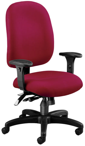 OFM Model 125 Ergonomic Task Chair with Arms, Fabric, Mid Back, Wine ; UPC: 811588012749 ; Image 1