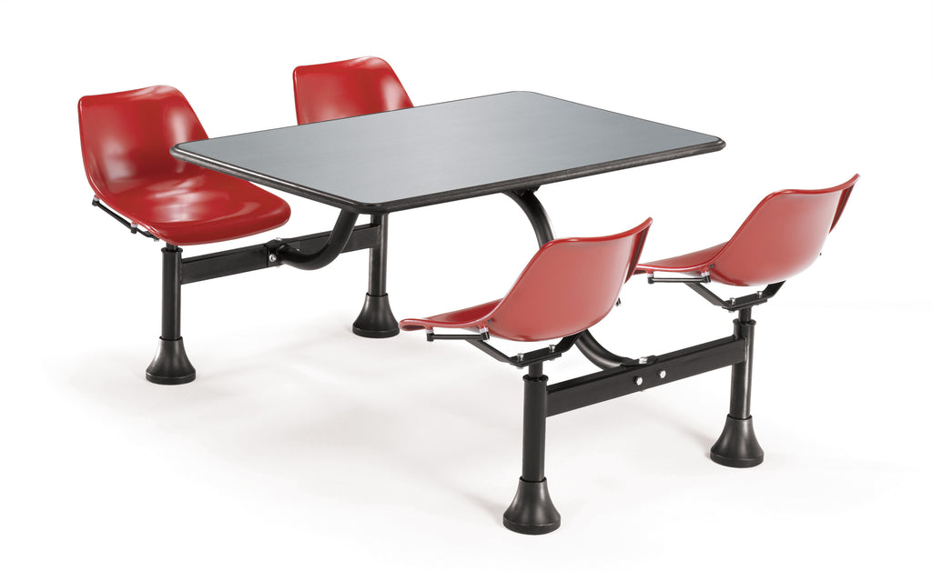 "OFM Cluster Seating Table with 24"" Stainless Steel Top and Red Seats ; UPC: 811588012220 ; Image 1"