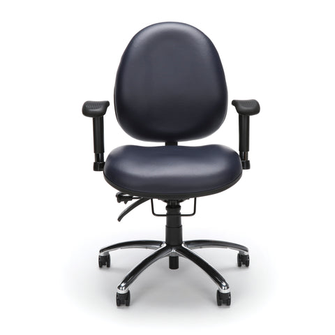 OFM Model 247-VAM 24 Hour Big and Tall Ergonomic Computer Swivel Task Chair with Arms, Anti-Microbial/Anti-Bacterial Vinyl, Navy ; UPC: 811588013043 ; Image 2