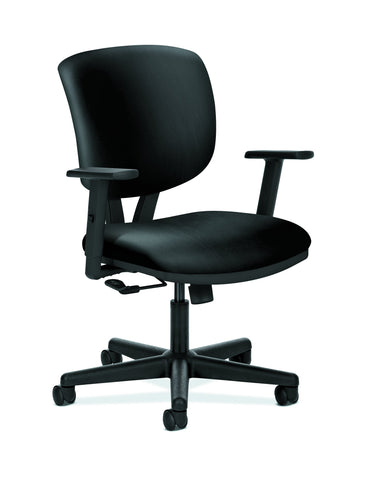 HON Volt Task Chair | Center-Tilt, Tension, Lock | Adjustable Arms | Black SofThread Leather ; UPC: 192767009065 ; Image 1
