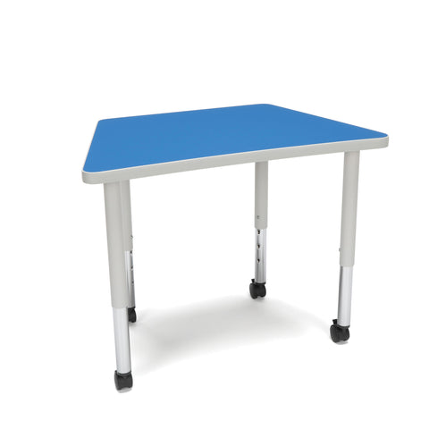OFM Adapt Series Trapezoid Student Table - 20-28? Height Adjustable Desk with Casters, Blue (TRAP-SLC) ; UPC: 845123096383 ; Image 1
