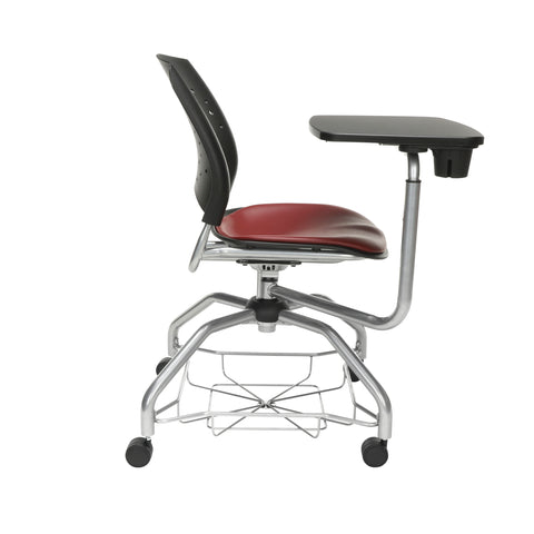 OFM Stars Foresee Series Tablet Chair with Removable Vinyl Seat Cushion - Student Desk Chair, Wine (329T-VAM) ; UPC: 845123094310 ; Image 4