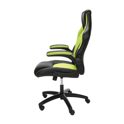 Essentials by OFM ESS-3086 High-Back Racing Style Bonded Leather Gaming Chair, Green ; UPC: 192767001205 ; Image 5