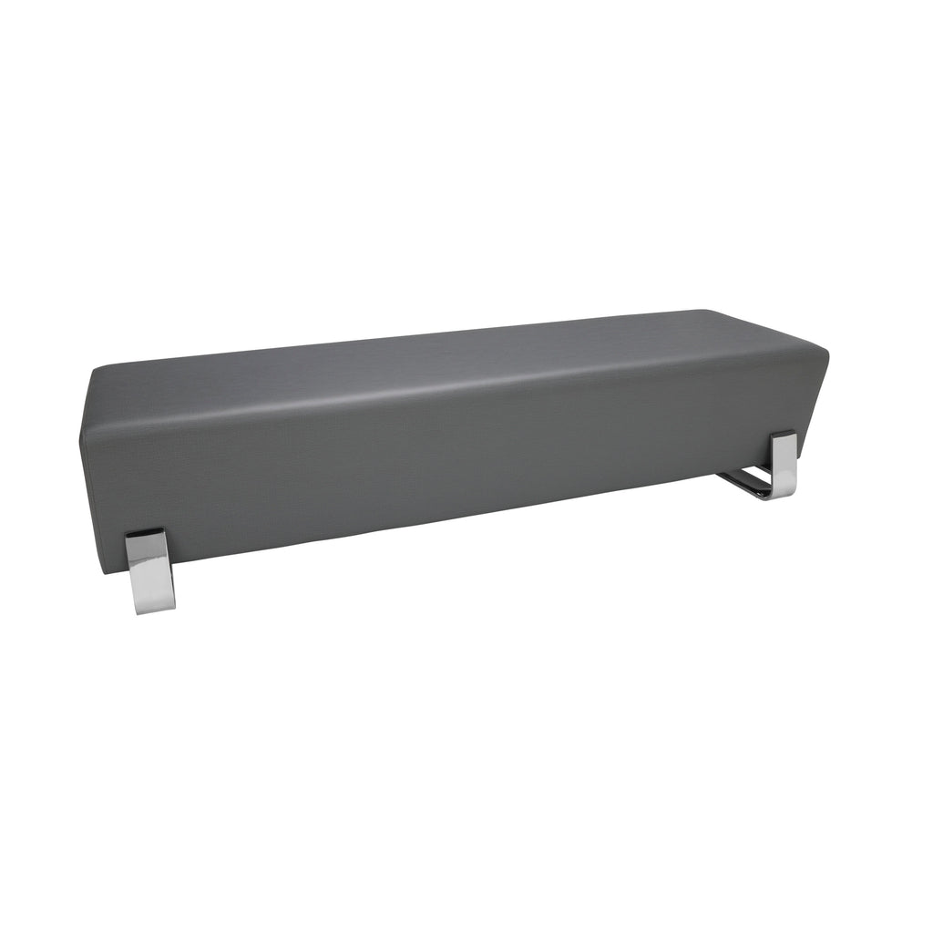 OFM Axis Series Contemporary Triple Seating Bench, Textured Vinyl with Chrome Base, in Slate (4003C-SLT) ; UPC: 845123089033 ; Image 1