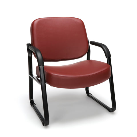 OFM Core Collection Big and Tall Guest and Reception Chair with Arms, Anti-Microbial/Anti-Bacterial Vinyl, in Wine (407-VAM-603) ; UPC: 845123028599 ; Image 1