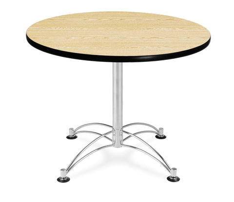 "OFM Model LT36RD 36"" Multi-Purpose Round Table with Chrome-Plated Steel Base, Oak ; UPC: 811588017553 ; Image 1"