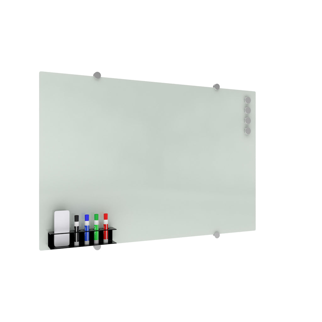 OFM Core Collection Magnetic Glass Whiteboard with Magnetic Marker Caddy, 36 x 24 (GB3624-REC-WHT) ; UPC: 192767001700 ; Image 1