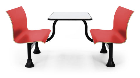 OFM 1007M-RED Retro Bench with Stainless Steel Table Top and Middle Frame ; UPC: 845123027820 ; Image 1