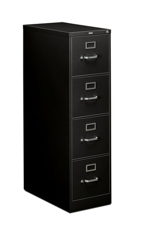 "HON 4-Drawer Office Filing Cabinet - 310 Series Full-Suspension Legal File Cabinet, 26.5""D, Black (H314) ; UPC: 089192040537 ; Image 1"